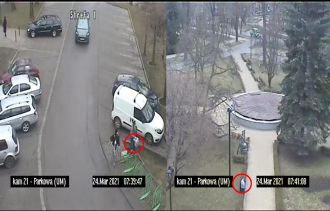 Śląskie. Wyrzucanie do koszy ulicznych odpadów z gospodarstw domowych w Bytomiu obrazują kamery miejskiego monitoringu.