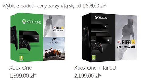 Microsoft podaje ceny zestawów Xboksa One w Polsce
