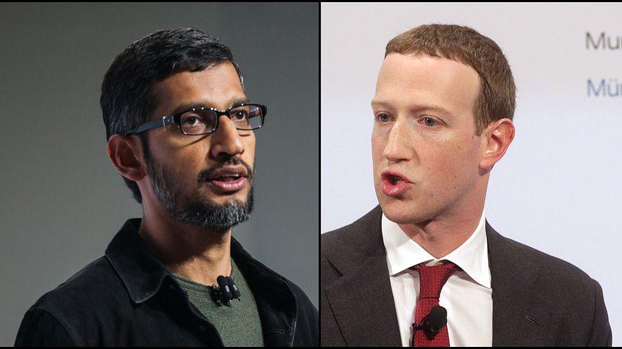 Sundar Pichai (CEO Google) i Mark Zuckerberg (CEO Facebook), fot. Ramin Talaie, Johannes Simon/Getty Images