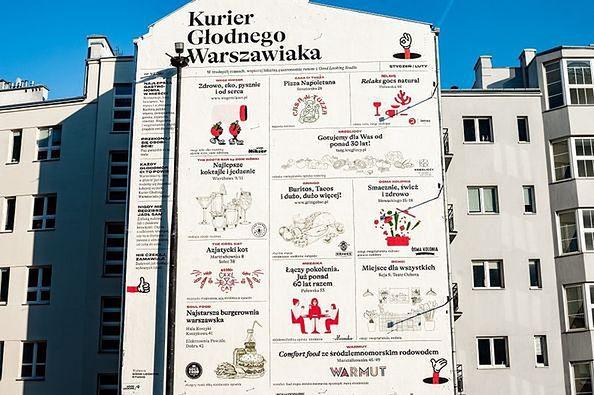 """Warszawa. Mural """"Kurier Głodnego Warszawiaka"""" to prośba o wspomaganie lokalnej gastronomii w pandemii"""