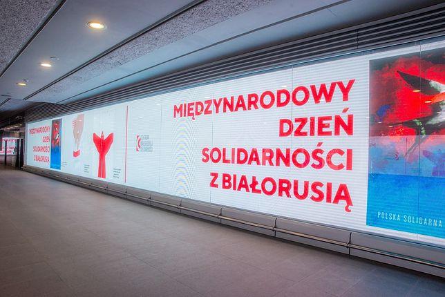 Warszawa. Metro - solidarność z Białorusią