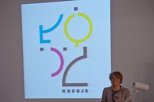 Prezydent miasta Hanna Zadnowska podczas prezentacji nowego logo Łodzi