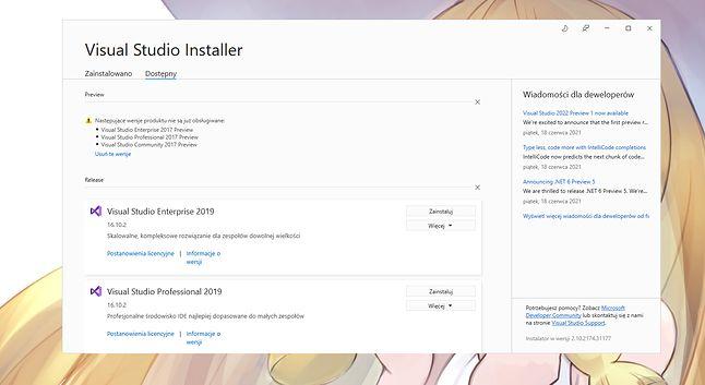 Instalator Visual Studio jeszcze nie zawiera wersji 2022... ale ogłoszenie o nim już tak