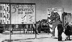 Tablice agitacyjne przed referendum w Warszawie, 1946 r.
