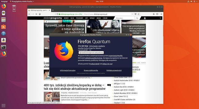 Firefox 59 uruchomiony z paczki snap – zwykły już się nie uruchomi