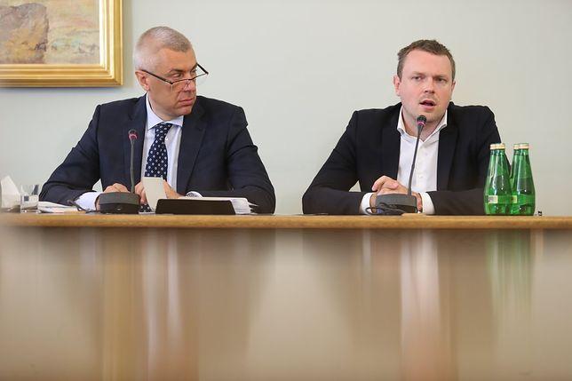 Michał Tusk i Roman Giertych podczas przesłuchania przed komisją śledczą ds. Amber Gold.