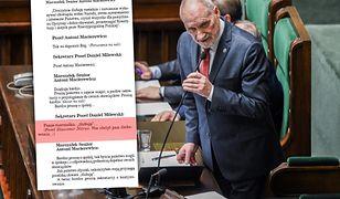 Antoni Macierewicz popełnił błąd w ślubowaniu. Widać to w stenogramie posiedzenia Sejmu.