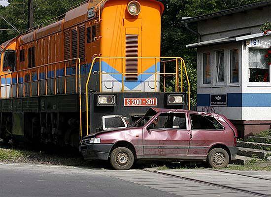 Zderzenie samochodu z lokomotywą - symulacja