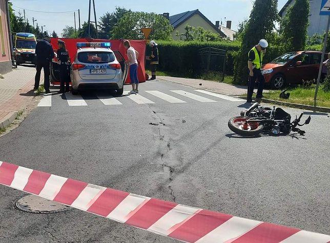 Lubin. Fatalny wypadek. Motocyklista zginął na miejscu