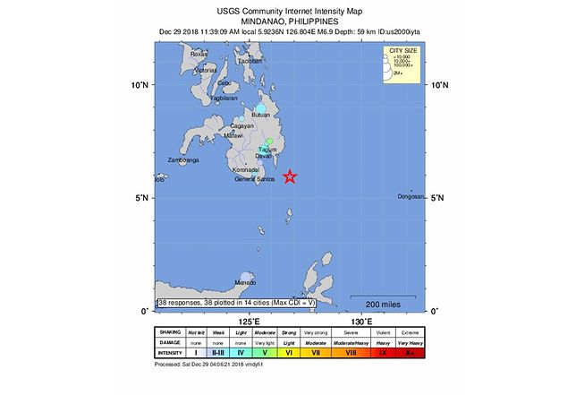 Wstrząsy odczuwalne były na południowym wybrzeżu Filipin