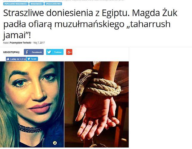 Screen tekstu dot. śmierci Magdy Żuk z portalu pikio.pl