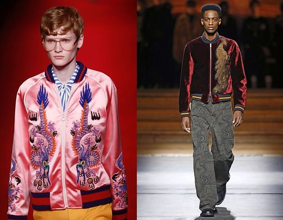 Kurtki Sukajan w męskich kolekcjach Gucci i Driesa Van Notena - jesień zima 2016/17
