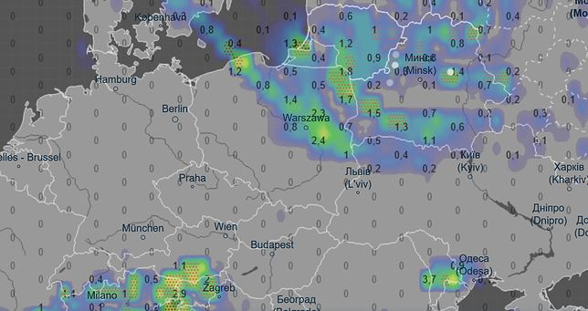 Pogoda na godz. 20. Prognozowane opady deszczu podane w mm