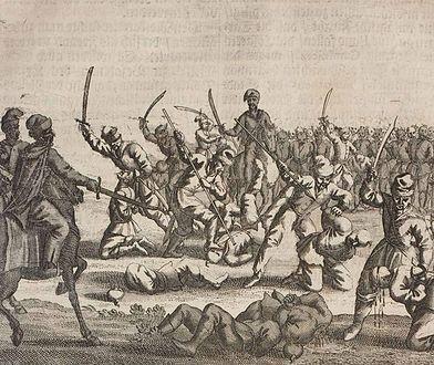 Grafika przedstawiająca rzeź polskich jeńców pod Batohem w 1652 r.