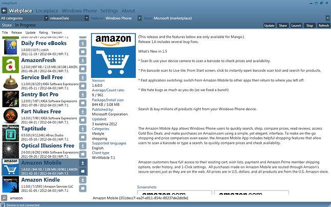 Aplikacja desktopowa - Amazon Mobile, niedostępny w regionie PL