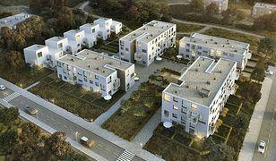 W modelowym osiedlu Mieszkanie+ nie spodobały się szeregowe wille dla bogatszych (na fot. po lewej)