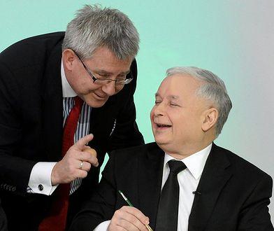 Europoseł PiS Ryszard Czarnecki i prezes partii Jarosław Kaczyński