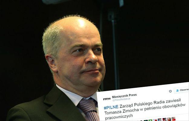 """Tomasz Zimoch zawieszony przez Polskie Radio za wywiad dla """"DGP"""" i gest Kozakiewicza"""