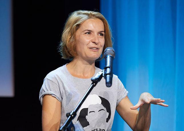 Małgorzata Sadowska podczas odebrania nagrody PISF w kategorii Krytyka Filmowa, 2016