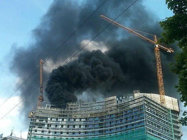 Pożar na budowie Warsaw Spire!