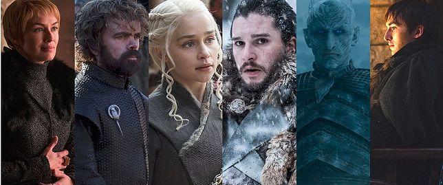 """""""Gra o tron"""" i jej bohaterowie. Od lewej: Cersei, Tyrion, Daenerys, Jon, Nocny Król i Bran. Kto z nich ostatecznie zasiądzie na Żelaznym Tronie?"""