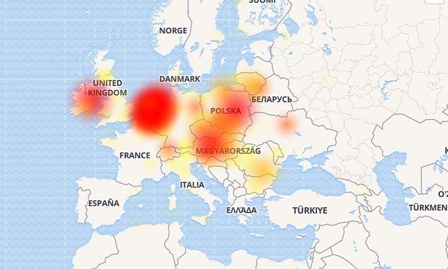 Mapa awarii Facebooka - stan z czwartku