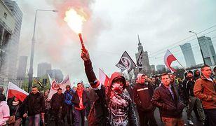 """Manifestacja ONR """"Polacy przeciwko imigrantom"""" w Warszawie, 10 kwietnia 2016 r."""
