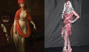 Anton Graff, Portret Doroty de Biron, księżnej kurlandzkiej i żagańskiej, 1791, Muzeum Narodowe w Warszawie / Lady Gaga w sukni z surowego mięsa, 2010, fotogram, fot. Hubert Boesl/ Photoshot/ Glinka-Agency.com