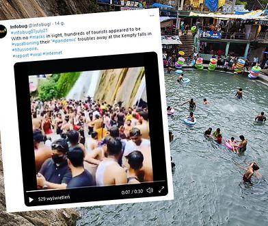 Indie. Tłumy turystów bez masek nad słynnymi wodospadami. Wideo obiegło świat