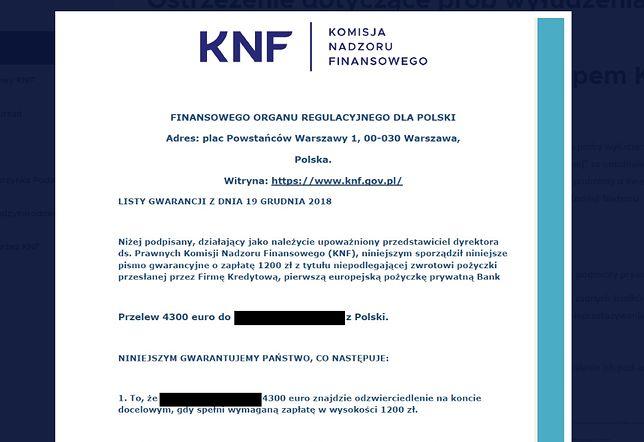 Takie pisma w ostatnich tygodniach otrzymują Polacy. KNF podkreśla, że to próba oszustwa i wyłudzenia pieniędzy