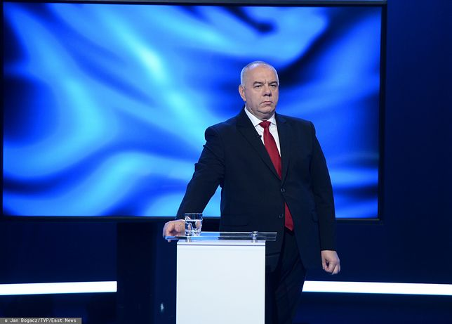 Wybory parlamentarne 2019. Jacek Sasin w czasie debaty przedwyborczej w TVP