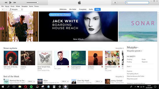Obecna wersja iTunes.