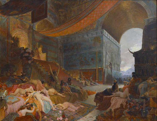"""Czyżby Babilon był rzeczywiście najbardziej rozwiązłą stolicą w dziejach starożytnego świata? Fragment obrazu Georgesa Rochegrosse'a """"Śmierć Babilonu""""."""