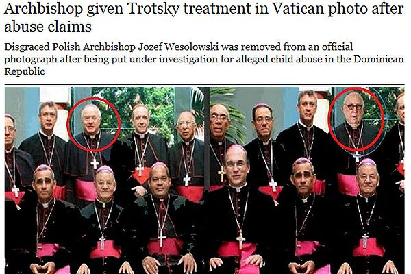 """Zestawienie fragmentów zdjęcia oryginalnego i zdjęcia wyretuszowanego opublikowane przez """"The Telegraph"""""""
