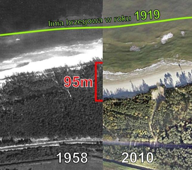 Tak wygląda różnica położenia linii brzegowej na przełomie ostatnich 100 lat