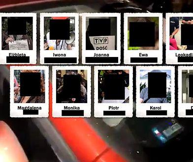 """Infografika z TVP. """"Wiadomości"""" podały imiona, nazwiska i pokazały twarze protestujących."""