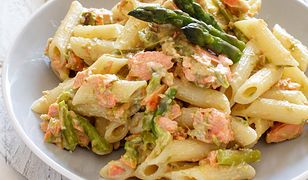 Asparagus and Salmon Penne Pasta on a table close up
