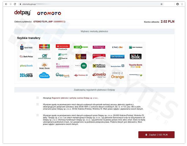 Spreparowany serwis Dotpay wykorzystany podczas ataku, w którym oszuści podszywają się pod OTOMOTO, źródło: PREBYTES Security Incident Response Team.