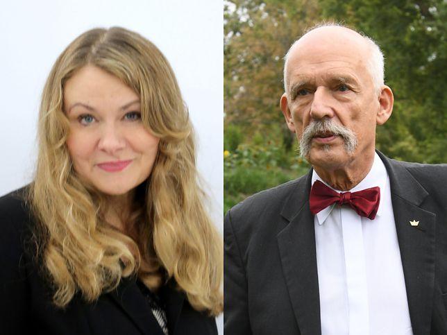 Katarzyna Piekarska z KO i Janusz Korwin-Mikke z Konfederacji