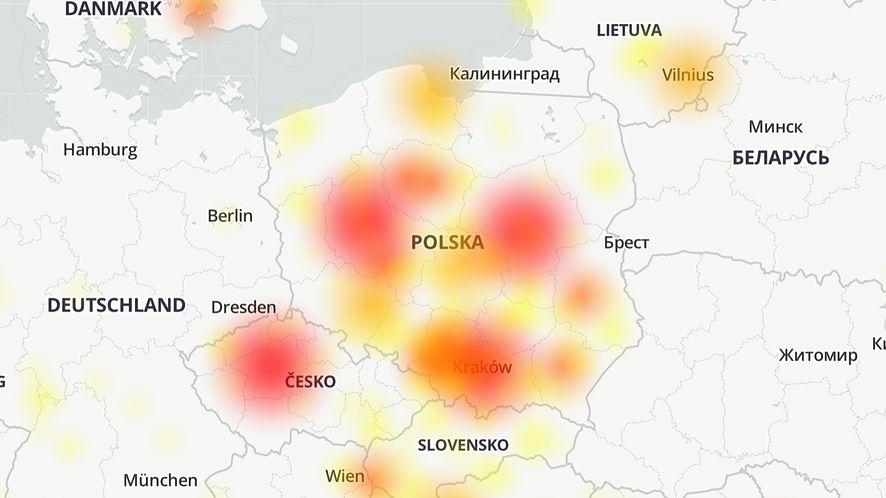 Facebook Messenger nie działa wielu osobom, źródło: downdetector