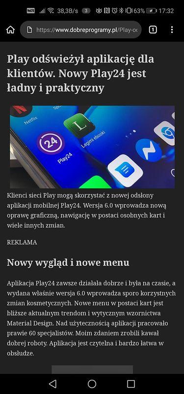 Widok uproszczony artykułu w Kiwi Browser