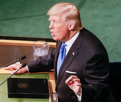 Donald Trump podczas przemówienia w ONZ