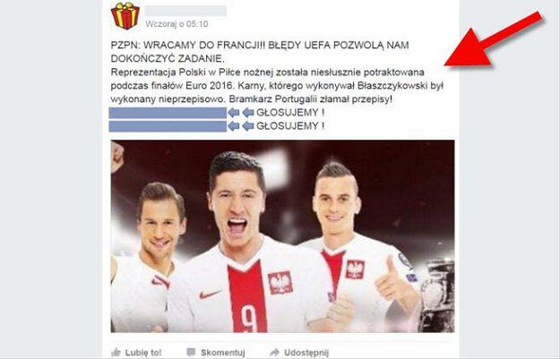 Na Facebooku grasuje nowy groźny wirus. Namawiając do głosowania ws powtórzenia meczu z Portugalią, kradnie dane
