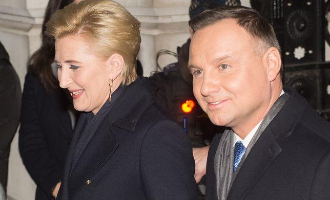Agata Kornhauser-Duda i Andrzej Duda na przyjęciu dla liderów NATO