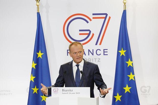 Donald Tusk podczas szczytu G7 w Biarritz