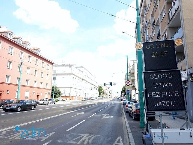 Poznań. Remont Rynku Łazarskiego. Ulica Głogowska nieprzejezdna