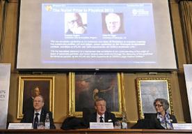 Jeden z laureatów, Peter Higgs
