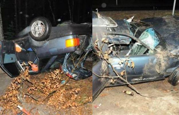 Fatalne skutki jazdy po pijaku. Z samochodu zostało niewiele