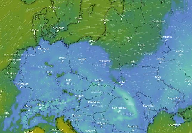 Prognoza pogody (temperatury w nocy z środy na czwartek).