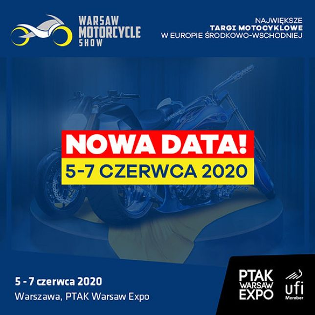 Warsaw Motorcycle Show zmienia termin z powodu koronawirusa. Targi odbędą się w czerwcu